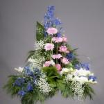 4. Kinesisk riddarsporre, Rosa germini, Rosa rosor, Vita gladiolus, Brudslöja, Olika grönt