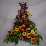 6.Gulorange rosor, germini,Chrysantemum , Höstlöv